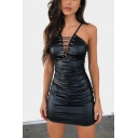 Trendy Eyelet Lace-Up V-Neck Backless Zipper Back Black Mini Bodycon PU Cami Dress