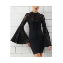 New Stylish Black Lace Panel Bell Long Sleeve Mini Bodycon Dress