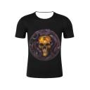 Cool Horror Snake Skull Pattern Short Sleeve Round Neck Black Tee