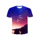 Summer New Trendy Letter LEO Printed Starry Galaxy Printed Short Sleeve T-Shirt