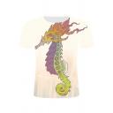 Unique Dragon Pattern Basic Round Neck Short Sleeve White Tee
