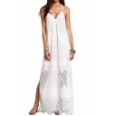 Summer Womens Chic V-Neck Sleeveless Split Side Maxi Lace Cami Dress