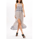 Summer Holiday Tribal Printed Round Neck Sleeveless Split Front Maxi Beach Bohemian Dress