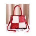Fashion Color Block Plaid Pattern Shoulder Sling Bag 29*10*23 CM