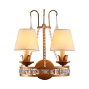Antique Style White Sconce Light Tapered Shade 2 Lights Fabric Wall Lamp with Crystal Beads for Hotel