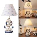 Resin Lifebuoy Desk Light Kid Bedroom 1 Light Nautical Style LED Nightlight in Dark Blue