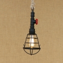 1 Light Wire Frame Pendant Light with Water Pipe Vintage Metal Rope Hanging Lamp for Restaurant