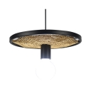 Linen Glass Open Bulb Hanging Light Cafe 1 Light Antique Style Pendant Light with Wheel in Black