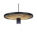 Linen Glass Open Bulb Hanging Light Cafe 1 Light Antique Style Pendant Light with Wheel in Black