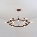 8/12 Lights Bare Bulb Pendant Light Vintage Style Metal Ring Chandelier in Rust for Restaurant