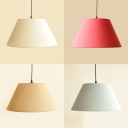 Nordic Style Ceiling Pendant with Tapered Shade 1 Light Fabric Hanging Lamp for Study Room