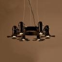 Industrial Ring Chandelier Light 6 Heads Metal Spot Lighting in Matte Black for Cafe Bar