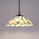 Bathroom Umbrella Shape Hanging Light Glass 1 Light Modern White Ceiling Pendant with Blue Leaf