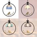 Antique Brass Bird Hanging Light Single Light Glass Pendant Lighting for Dining Room