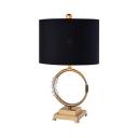Black Cylinder Desk Light with Clear Crystal 1 Light Traditional Metal Reading Light for Bedroom