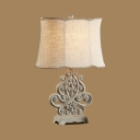 1 Light Bell Engraved Table Light Antique Style Resin Reading Light in Off-White for Hotel