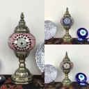 Moroccan Blue/Multi-Color/Pink Table Light Trophy Shape 1 Light Glass Reading Light for Cafe