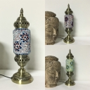 Moroccan Blue/Green/Red Desk Light Tube Shade One Light Metal Glass Table Lamp for Office