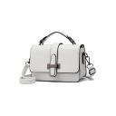 Simple Fashion Plain Belt Buckle White PU Leather Cross body Satchel 20*8.5*14.5 CM