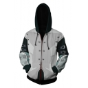 Trendy 3D Colorblock Comic Cosplay Costume Long Sleeve Zip Up Relaxed Grey Hoodie