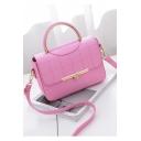 Women's Simple Fashion Solid Color Plaid Thread Top Handle Work Satchel Handbag 21*7*16 CM