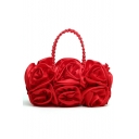Fashion Solid Color Ruffled Floral Pattern Beaded Handle Clutch Handbag 30*18 CM