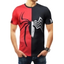 New Stylish Cool Black and White Spider Print Red and Black Slim Tee for Men