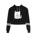 Popular Cartoon Cat Letter DOG MOM Striped Long Sleeve Cropped Drawstring Hoodie