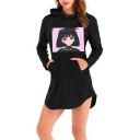 Fashion Vaporwave Comic Girl Printed Long Sleeve Mini Casual Hoodie Dress