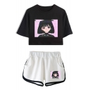 Vaporwave Cute Comic Girl Pattern Short Sleeve Crop Tee Casual Dolphin Shorts Two-Piece Set