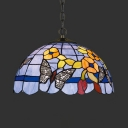Tiffany Rustic Butterfly Pendant Light Single Light Stained Glass Suspension Light for Shop