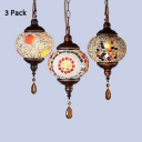 Mosaic Multi-Color Pendant Light 1/3 Pack Globe 1 Head Glass Hanging Lamp for Bedroom(not Specified We will be Random Shipments)
