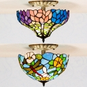 Rustic Style Multi-Color Ceiling Lamp Dragonfly/Flower Glass Inverted Flush Mount Light for Bathroom