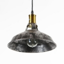 Retro Loft Barn Hanging Light Iron 1 Light Aged Silver Suspension Light for Workshop Mall