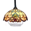 Victorian Style Dome Pendant Light 1 Light Stained Glass Hanging Lamp with Telephone Cord for Shop