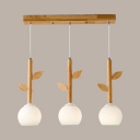 Sphere Dining Room Island Light with Leaf Decoration Wood 3 Lights Nordic Style Island Lamp in White
