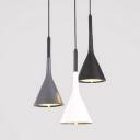 Modern Conical Pendant Light 1 Light Metal Suspension Light in Black/Gray/Black for Kitchen