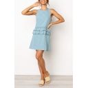 Summer Trendy Light Blue Simple Plain Round Neck Sleeveless Peplum Waist Mini A-Line Dress