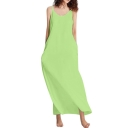 Summer Basic Simple Plain V-Neck Sleeveless Cotton Loose Maxi Slip Dress