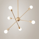 Contemporary Spar Chandelier Light 6/8 Lights Metal Pendant Light in Gold for in Gold