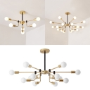 6/12/16 Lights Snowflake Chandelier Elegant Style Metal Hanging Light in Gold for Cafe Restaurant