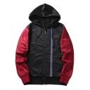 Mens Basic Simple Letter STYLE Print Colorblocked Long Sleeve Zip Up Hooded Sport Coat Jacket