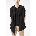 Guys Cool Street Fashion Simple Plain Sleeveless Black Vest Hoodie