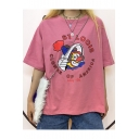 Summer Funny Letter Clown Pattern Round Neck Casual Loose T-Shirt