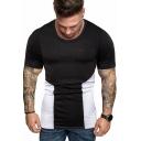 Summer Hot Trendy Colorblocked Round Neck Short Sleeve Slim Fit Tee for Men