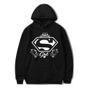 Cool Letter S GIRL Pattern Casual Loose Sport Unisex Pullover Black Hoodie