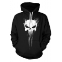 Cool Skull Pattern Long Sleeve Black Casual Loose Drawstring Hoodie