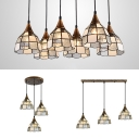 White Lattice Domed Pendant Light 3/6 Lights Traditional Style Glass Hanging Lamp for Study Room