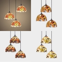 Tiffany Antique Colorful Pendant Light with Dragonfly/Flower/Leaf 3 Lights Glass Ceiling Light for Villa