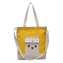 Cute Cartoon Pattern Colorblock Flat Pocket Front Canvas Shoulder Bag for School 33*5*36 CM